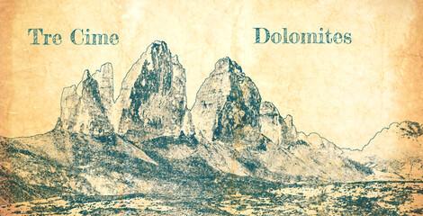 Wall Mural - Sketch of Tre Cime di Lavaredo, Dolomites