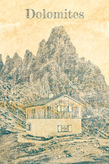 Wall Mural - Monte Paterno and cottage in Dolomites, Italy, sketch on paper