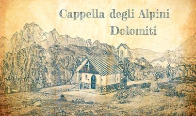 Wall Mural - Sketch of Cappella degli Alpini in Dolomites, Italy