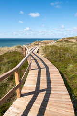 Wall Mural - Wooden boardwalk along the dunes, Sylt, Germany