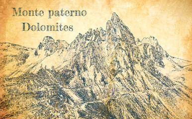 Wall Mural - Monte Paterno, Dolomites in Italy, sketch on old paper