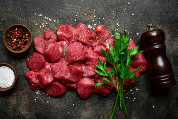 Raw organic meat ( beef or lamb ) . Top view with copy space.