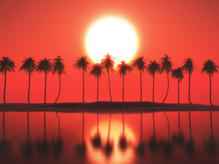 Door stickers Red 3D palm tree landscape against a sunset sky