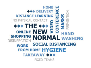 New Normal, social distancing after coronavirus concept tag cloud blue gradient white background