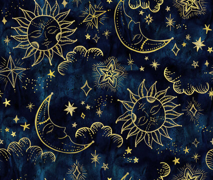 Astrological Sun and Moon with stars pattern