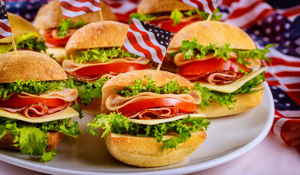 Good appetizer sandwiches on white background with flag.