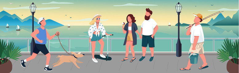 People walking on quay flat color vector illustration Wall mural