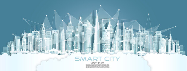 Technology wireless network communication smart city with architecture in Japan. Fotomurales