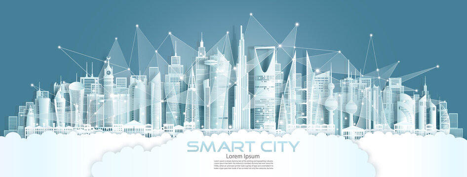 Technology wireless network communication smart city with architecture in Japan.
