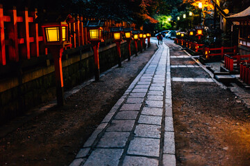 Night street with Japanese lamp in Kyoto, Japan