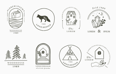 Home and house logo collection with wild,natural,animal,flower,circle.Vector illustration for icon,logo,tattoo,accessories and interior