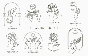 Beauty occult logo collection with hand, flower, rose.Vector illustration for icon,logo,sticker,printable and tattoo