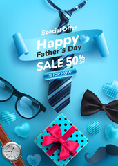 Father's Day Sale poster with flatlay of Glasses,Necktie,Watch and Gifts for dad.Greetings and presents for Father's Day.Promotion and shopping template for love dad concept.Vector illustration eps 10
