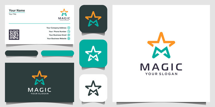 letter M with stars line art logo design inspiration. logo design, icon and business card