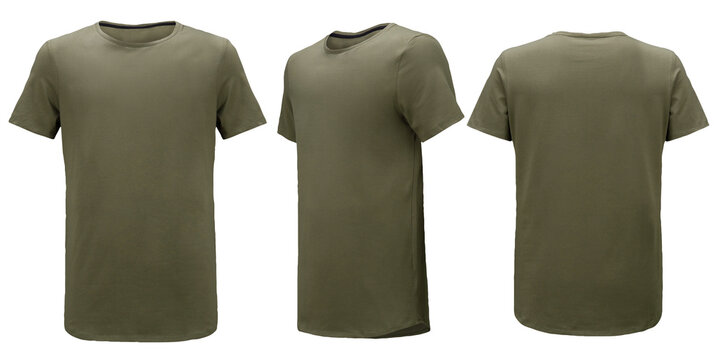 Shirt design and people concept - close up of blank khaki green tshirt front and rear isolated. Mock up template for design print