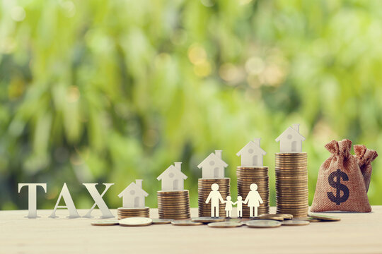 Family members, house, dollar money bags on rows of rising coins. Concept family tax benefit, residential property or estate taxt depicts home equity loan, reverse mortgage