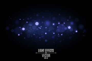 Wall Mural - Abstract horizontal light effect bokeh isolated on black background. Bright blue glares. Colorful glitter. Flying magical dust for your project. Vector illustration
