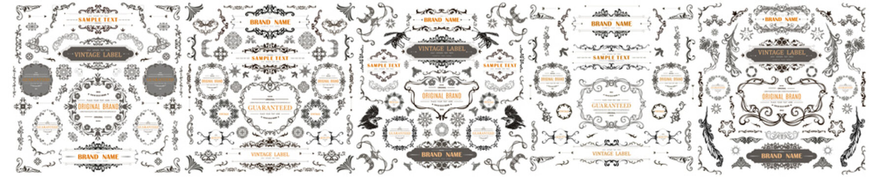 Set of Vintage Decorations Elements. Flourishes Calligraphic Ornaments and Frames with place for your text. Decorative swirls or scrolls, vintage frames , flourishes, labels and dividers. Retro Style