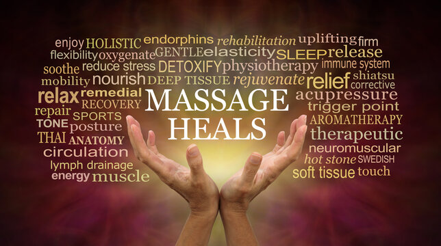 Massage heals word tag cloud - female hands reaching up with the words MASSAGE HEALS floating above surrounded by a relevant word cloud on a warm dark brown red background