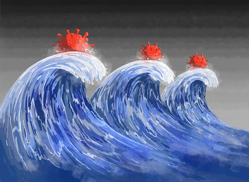 The forecast 3 waves of the COVID-19 pandemic depicted as huge ocean waves with 3 SARS-CoV-2 virions on top