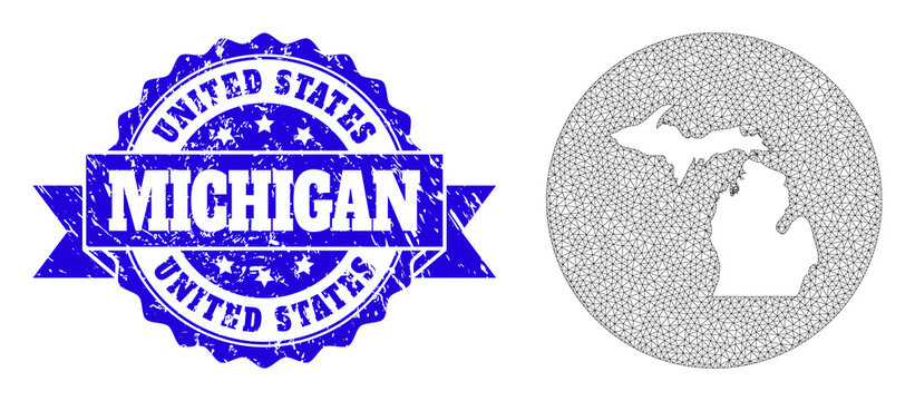 Wire Frame Mesh Circle Hole Map of Michigan State with Scratched Stamp Seal