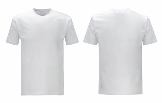 Front back and side views of white t shirt on isolated on white background slim fit style
