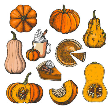 Vector ink set with pumpkins and pumpkin desserts