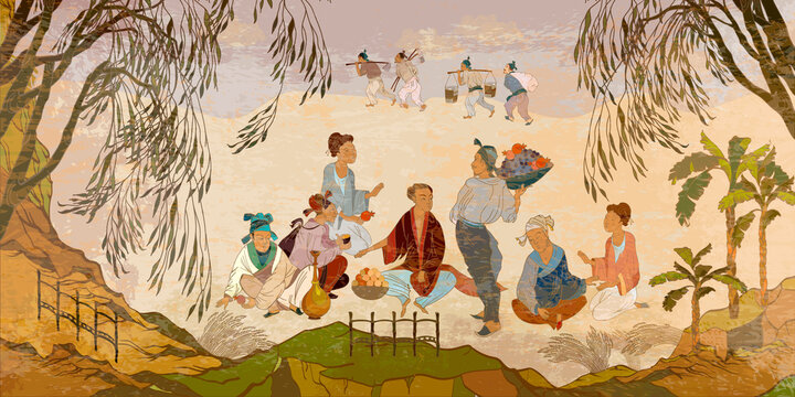Ancient China. Oriental people. Traditional Chinese paintings. Tradition and culture of Asia. Classic wall drawing. Murals and watercolor asian style. Hand-drawn vector illustration