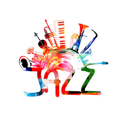Jazz music background with colorful music instruments and vinyl record vector illustration. Music festival poster with double bell euphonium, violoncello, trumpet, piano, euphonium, sax and guitar