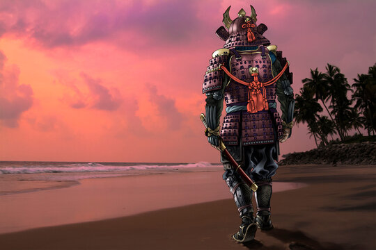 Highly detailed raster llustration of Japanese samurai wearing a traditional medieval armor against the sunset sky. Photo from my archive has been used for a background.