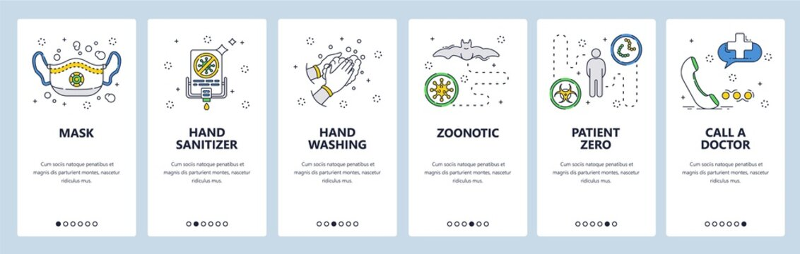 Corona virus protection icons. Face mask, hand sanitizer, zero patient, call a doctor. Mobile app screens. Vector banner template for website and mobile development. Web site design illustration