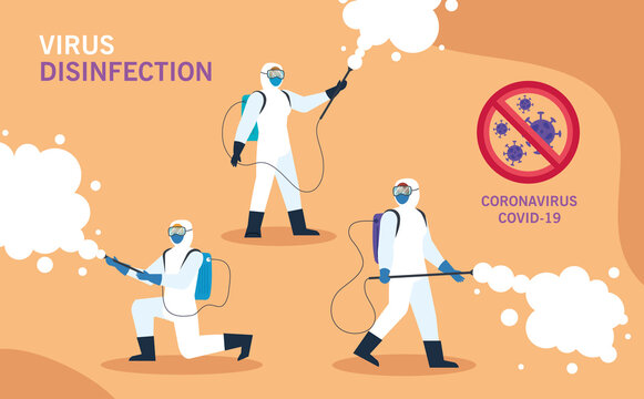 persons with protective suit for spraying the covid 19, disinfection virus concept vector illustration design