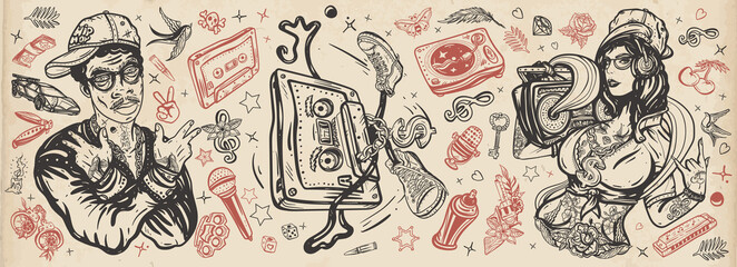 Poster Graffiti Hip hop music. Old school tattoo collection. Rap girl, swag woman, boom box. African American man rapper in baseball cap and glasses. Audio cassette, break dance. Tattooing musical street ghetto