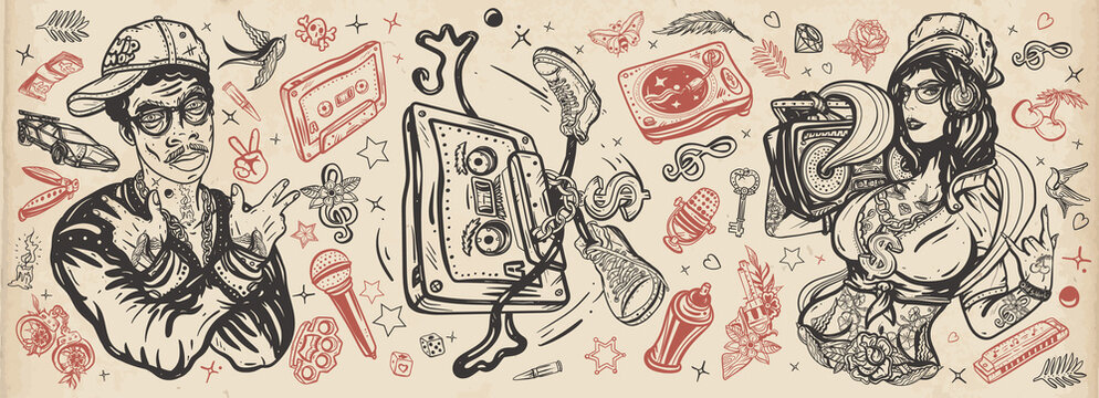 Hip hop music. Old school tattoo collection. Rap girl, swag woman, boom box. African American man rapper in baseball cap and glasses. Audio cassette, break dance. Tattooing musical street ghetto