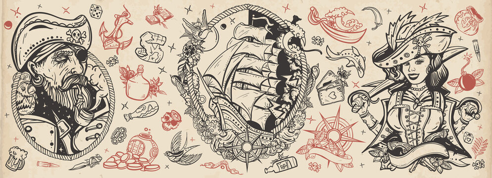 Pirates. Old school tattoo vector collection. Sea adventure. Traditional tattooing style. Captain, parrot, ship in storm, girl filibuster, compass, anchor, rum, treasure island, swallows