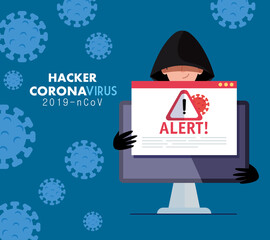 hacker and laptop with danger warning sign during covid 19 pandemic vector illustration design