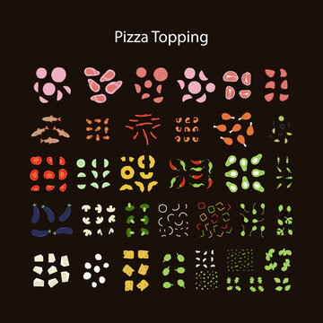 Pizza constructor. Create your own pizza with  all kinds of pizza toppings. Meat and fish filling for pizza, cheeses, vegetables, greens, mushrooms. Flat vector design