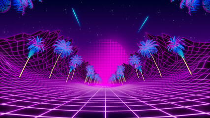 Fototapeten Violett 80s retrowave neon background. Fly through low poly landscape with palms trees.