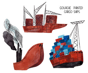 Set Of Gouache Painted Cargo Ships