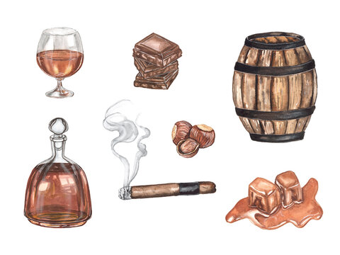 Watercolor illustration set of cognac on a white background