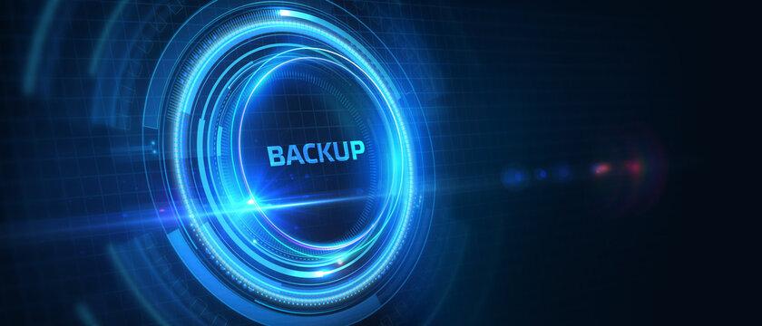 Business, Technology, Internet and network concept. Backup storage data internet technology. 3D illustration.