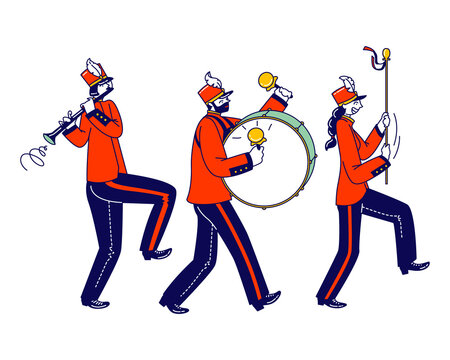 Victory Parade Celebration, Musician Characters Walking with March. Military Orchestra Playing Musical Instruments Flute and Big Drum Isolated on White Background. Linear People Vector Illustration