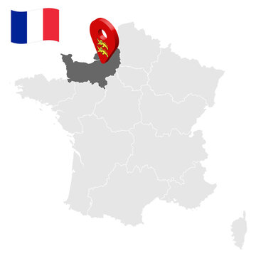 Location of Normandy on map France. 3d location sign similar to the flag of Normandy. Quality map  with regions of  French Republic for your design. EPS10.
