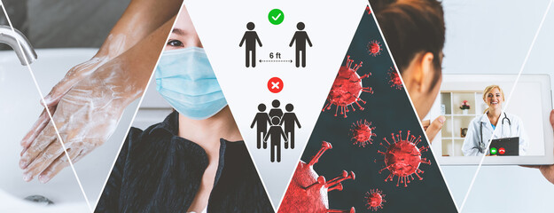 Coronavirus COVID-19 image set banner in concept of prevention information including safety precaution and doctor service to prevent spreading infection of covid-19 or 2019 Coronavirus Disease. Wall mural