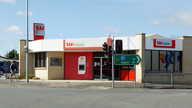 Sorell, Tasmania, Australia: March 27, 2018: Westpac Banking Corporation is more commonly known as Westpac. Small town bank with an ATM.