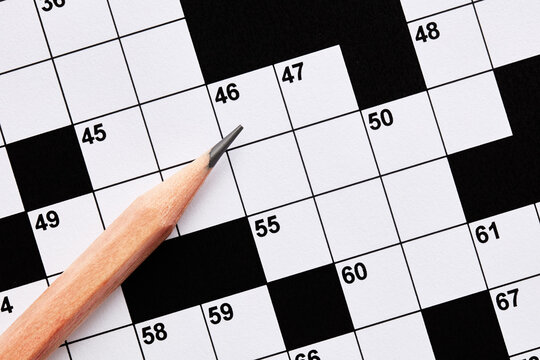 Blank crossword puzzle game with pencil