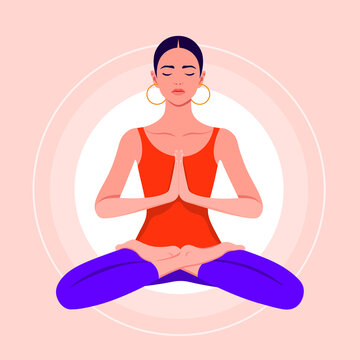 A young woman sits in a lotus position and meditates. Hispanic girl practices yoga and levitates. Vector flat illustration