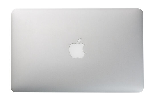 Moscow, Russia - June, 2018: Image of Macbook isolated on white background. Top view. MacBook is a brand of notebook laptop computers manufactured by Apple Inc.