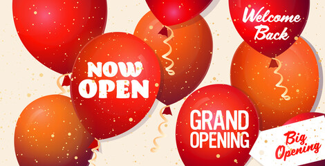 grand opening festive event invitation banner with red balloons and confetti welcome back big opening advertising campaign poster template horizontal vector illustration Papier Peint