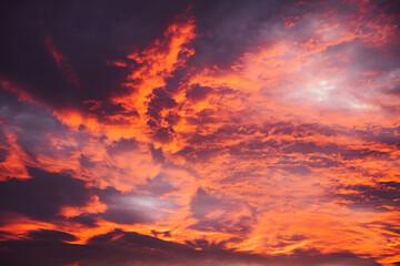 Stunning cloud formation during orange/purple sunset